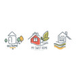eco home or logo design with green leaf vector image vector image