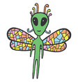 fairy tales sticker with dragonfly alien vector image vector image