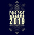 forest fest 2019 geometric pattern style poster vector image vector image