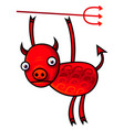 funny with a red cartoon devil vector image vector image