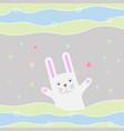 greeting card with funny cartoon rabbit waving vector image