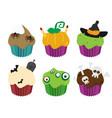halloween cupcakes set flat vector image vector image