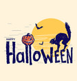 happy halloween text hand drawn lettering vector image