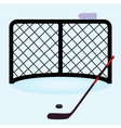 ice hockey net gate with hockey stick and puck vector image vector image