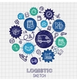 Logistic hand drawing hatch icons vector image vector image