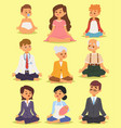 lotus position yoga pose meditation relax people vector image vector image