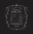 menu restaurant blackboard hand drawn frame vector image