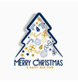 merry christmas creative christmas tree design vector image vector image