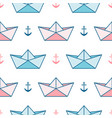 pattern with paper boats and anchors vector image vector image