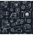 Photo and movie hobby cameras seamless pattern vector image