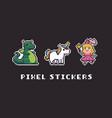 pixel art stickers vector image vector image