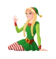 Pretty girl in Christmas elf costume greeting vector image vector image