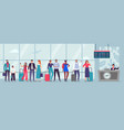 queue to airport check-in travelers waiting in vector image vector image