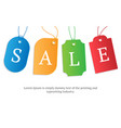 realistic colorful paper price tag with text sale vector image vector image