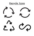 recycle icon set in flat style vector image vector image