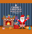 santa claus in christmas room interior vector image vector image