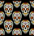 seamless pattern with colorful day of the dead vector image
