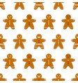 seamless pattern with gingerbread men vector image vector image