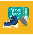 set hockey skate puck and ticket vector image