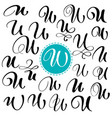 set letter u hand drawn flourish vector image