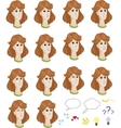 Set of cartoon caucasian female faces with vector image vector image