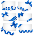 Set of gift card notes with blue bows with ribbons vector image vector image