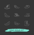 set of shoe types icons line style symbols with vector image vector image