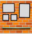 shelf photo frames brick background vector image vector image
