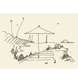 simple sketch abstract seaside view beach vector image vector image