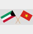 socialist republic of vietnam and kuwait flags vector image