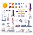 space objects collection rocket shuttle rover vector image