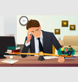 stressed businessman choosing between career and vector image vector image