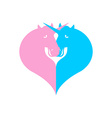 Unicorn symbol LGBT community Sign of love and two vector image vector image