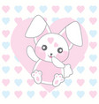 valentines day with cute pink rabbit on love vector image vector image