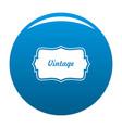 vintage label icon blue vector image