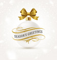 white christmas bauble with golden bow ribbon vector image vector image