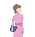 woman holding clipboard and smiling secretary vector image vector image