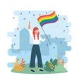 woman with rainbow flag with bushes and branches vector image vector image