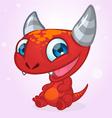 Happy cartoon red monster Halloween vector image