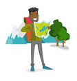 african traveler with backpack looking at map vector image vector image