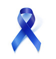 Awareness blue ribbon isolated on white vector image vector image