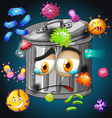 Bacteria around the trashcan vector image vector image