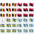 Belgium UPA Karakalpakstan Palau Set of 36 flags vector image vector image