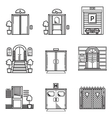 Black contour icons for door vector image vector image
