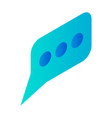 blue speech bubble icon isometric style vector image vector image
