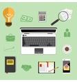 Businessman work desk flat concept vector image vector image