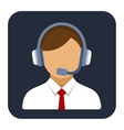 Call Center Operator or Manager with Headset Flat vector image vector image