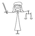 cartoon madam or lady justice blindfolded vector image