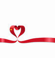 chinese flag heart-shaped ribbon vector image