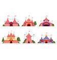 circus tent carnival circus canopy stripe tent vector image vector image